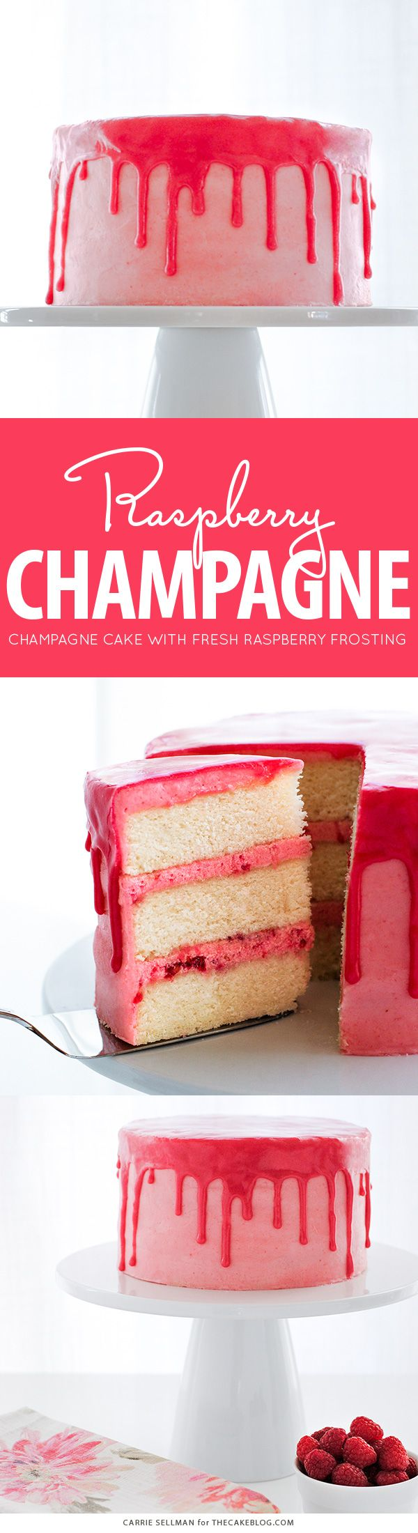Champagne, berries and cream come together in this delicious Raspberry Champagne Cake.  Served with a drippy raspberry glaze, @realreddiwip and fresh raspberries.  By Carrie Sellman for TheCakeBlog.com. #ad