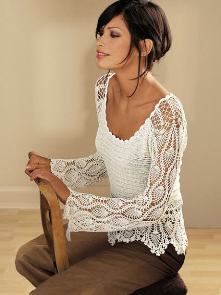 exquisite pineapple crochet top - mainly inspiration but there are some very clear diagrams of the motifs <3