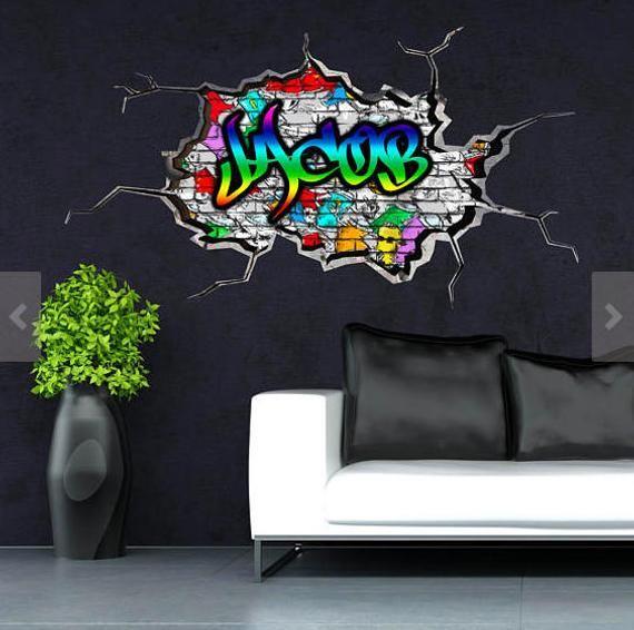 Personalized Customized Name Graffiti Wall Decals Stickers Etsy Personalized Wall Decals Graffiti Wall Sticker Wall Art