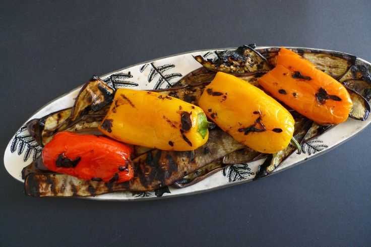 Peppers and Eggplant, Grilled and Oiled