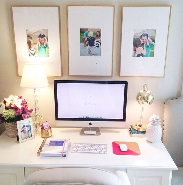 thin gold frames for gallery wall , also-desk styling