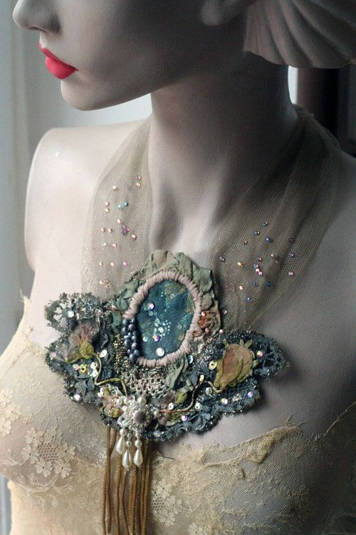 RESERVED-- fairy woods--bold, unusual necklace from vintage and antique textiles, hand embroidery, beading