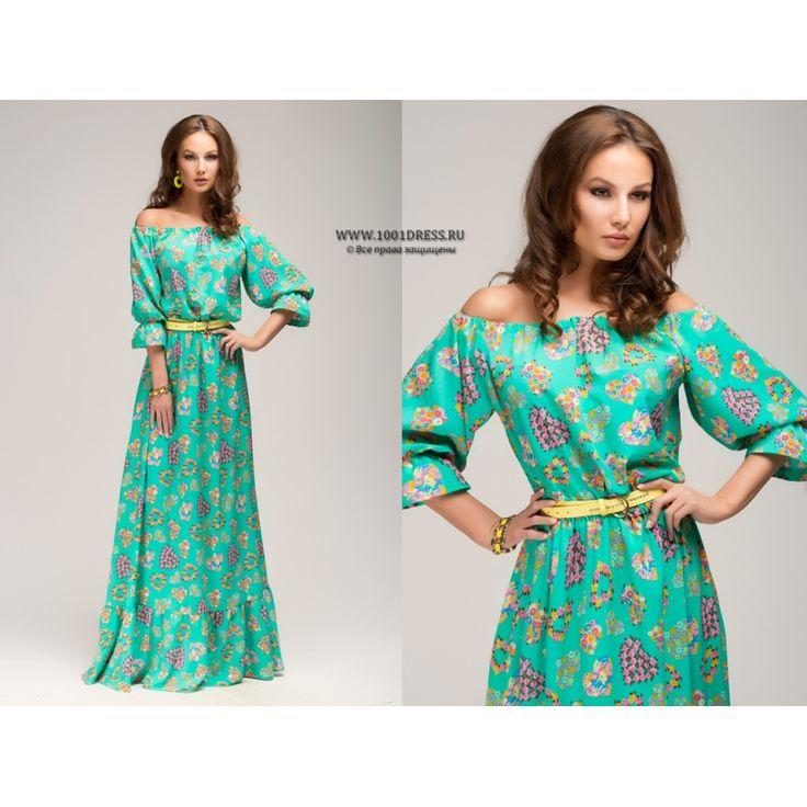 Платье мятное с принтом длины макси и рукавом 3/4 DM00243MN