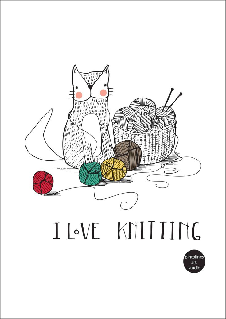 Knitting Humor Cartoon : I love knitting print etsy printing and yarns