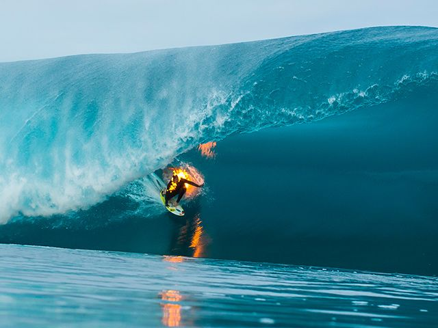 JOB literally on fire in at Teahupoo