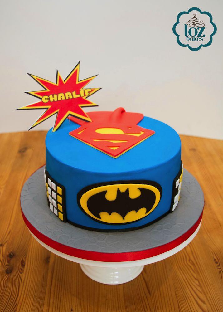 """8"""" (chocolate mud cake) Superhero theme."""
