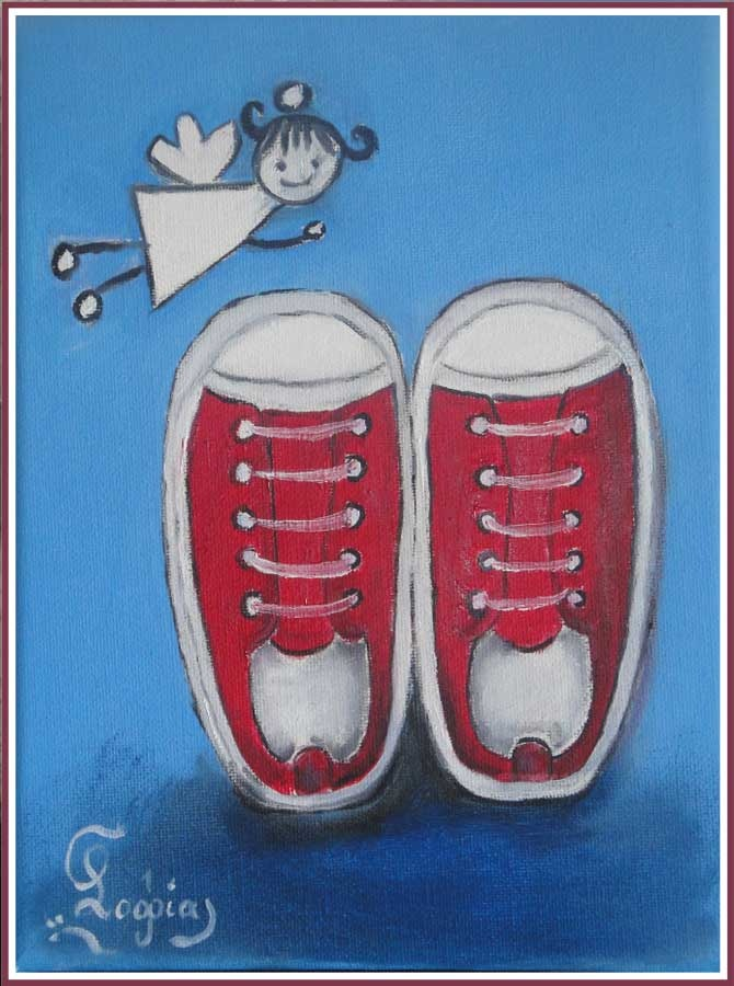 baby red shoes, oil painting