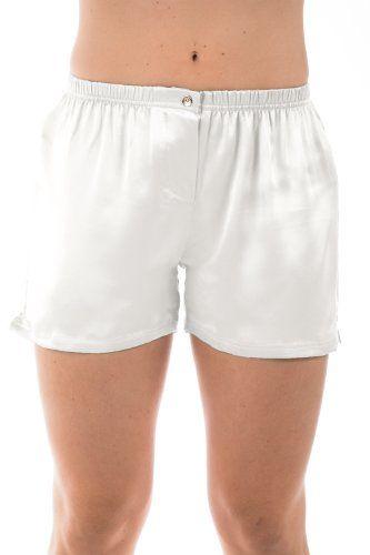 Womens White Silk Boxers