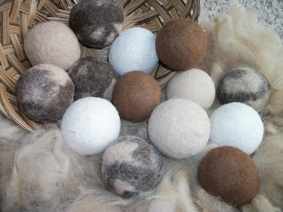 felted wool dryer balls, add essential oils to scent in dryer