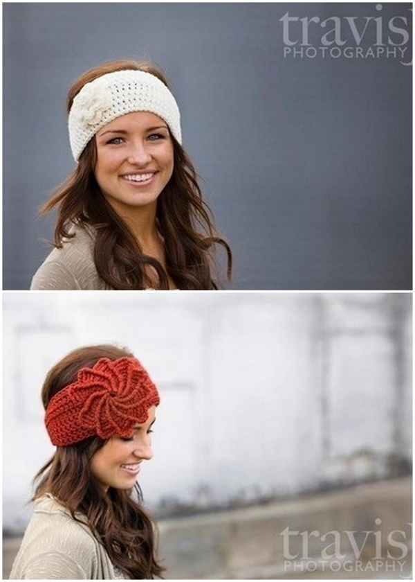 "crochet ear warmer... would love one of these in the maroon color, but with the white flower; head measures 22"" ;)---- for Becki"