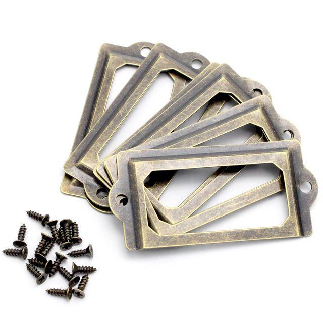 Lucia artesanías 5 unids/lote Tirón Etiqueta de Metal de Bronce Antiguo Marco Manejar Archivos De Caja Caja Del Cajón Del Gabinete Muebles Bin 048011071