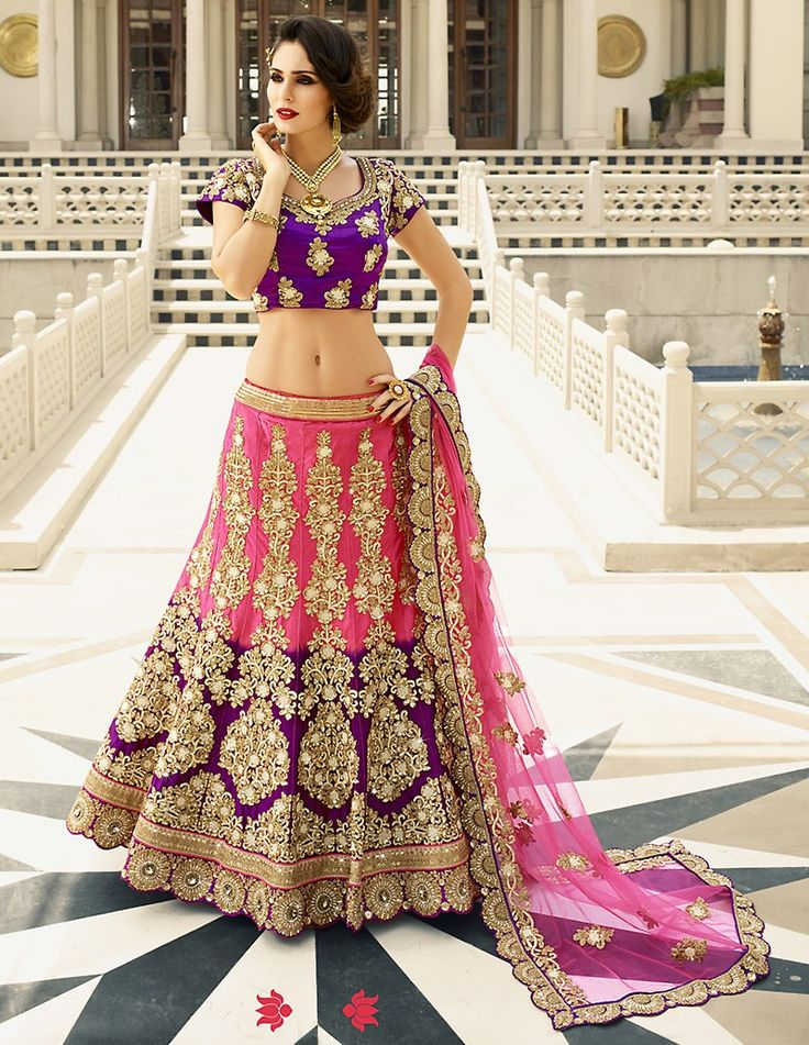 Art Silk Fabric & Pink Color Exquisite Unstitched Lehenga Choli With Lace Work Dupatta This attire is nicely made with Butta Work & Sequins Work work.  #lushika #fashion #indian #wedding #cholisonline #lehengashopping