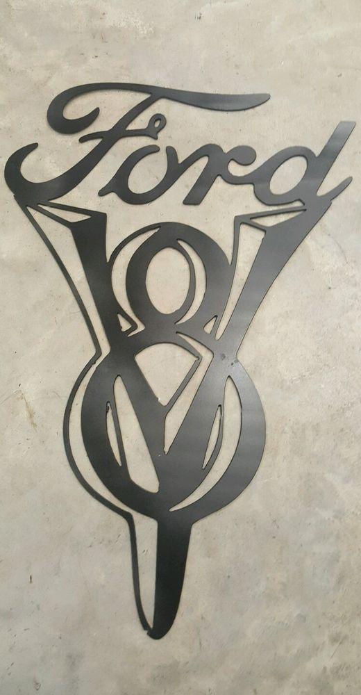 ford v8 sign metal wall art plasma cut - Metal Wall Designs