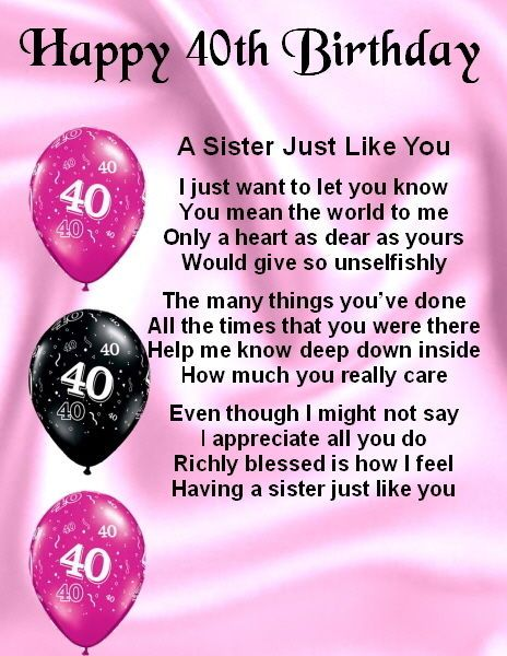 40th Birthday Wishes For Sister ~ Fridge magnet personalised sister poem th birthday free gift box and magnets