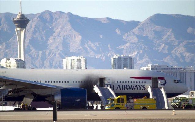 Αεροσκάφος της British Airways έπιασε φωτιά κατά την απογείωση από Λας Βέγκας