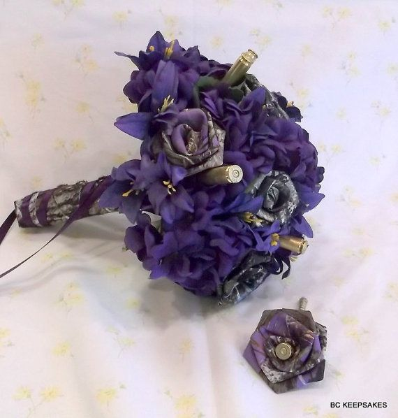Custom Camo in PurpleFallBulletsWedding by BouquetsByKeepsakes