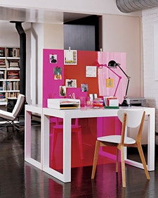 DIY Desk Built for Two with pink plexiglass divider from my old fave Blueprint mag...