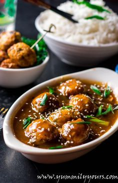 Veg Manchurian Gravy, veggie meatballs dunked in a Cantonese sauce, A very popular Indo-Chinese recipe