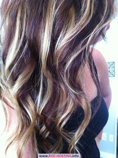 plum hair colour with blonde highlights