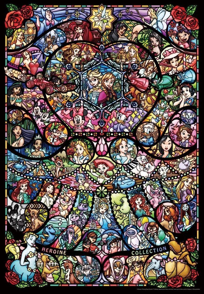 Disney Pixar Jigsaw Puzzle 1000 Piece Heroine Collection Stained Glass Japan #Tenyo