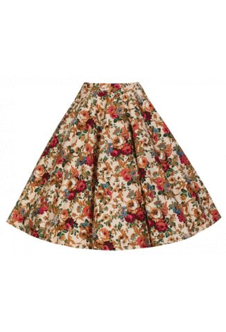 Lindy Bop Peggy Beige Floral Full Circle Skirt Size 8-26