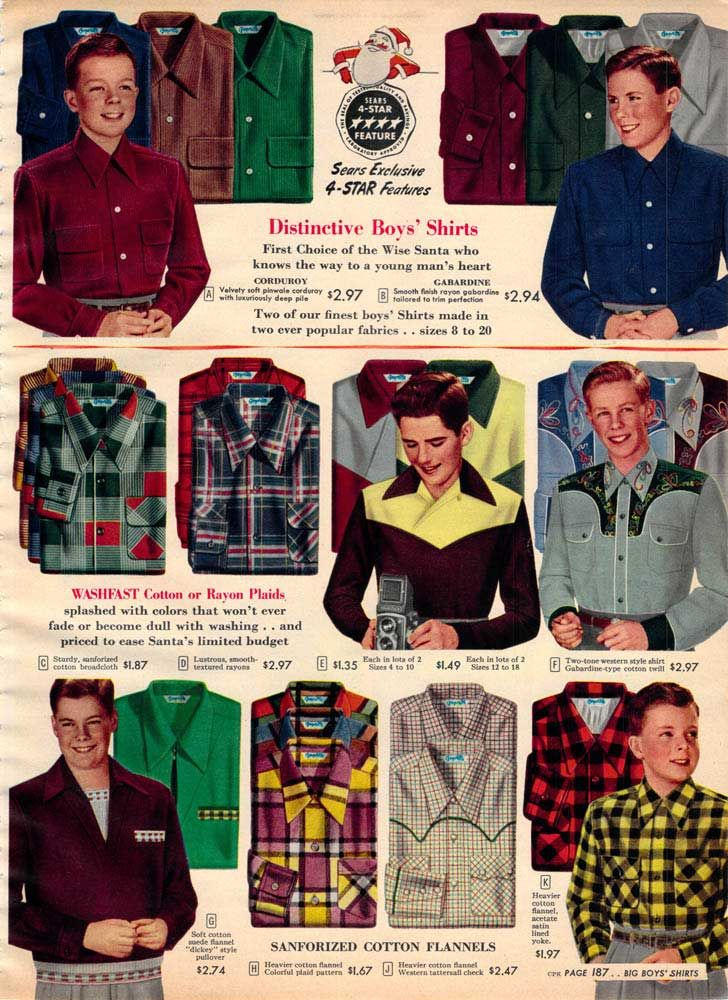 Vintage Boys Shirts from a 1952 Sears catalog