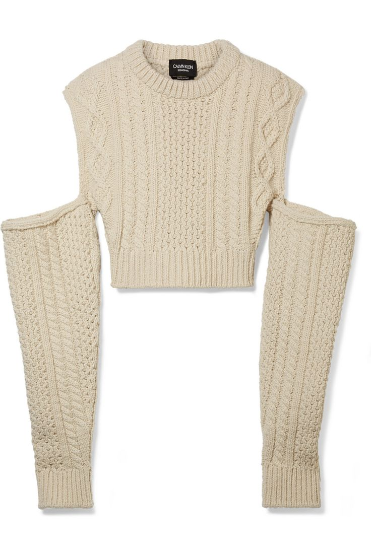 CALVIN KLEIN 205W39NYC | Cold-shoulder cropped cable-knit wool-blend sweater | NET-A-PORTER.COM