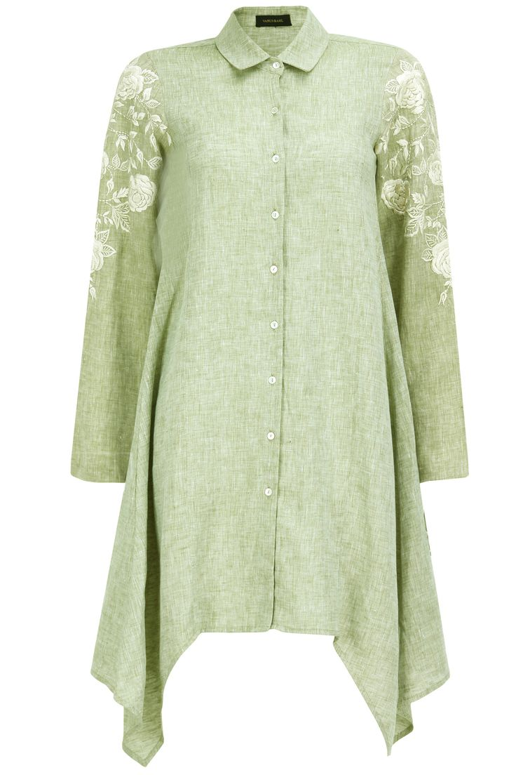 Pastel green floral embroidered shirt dress available only at Pernia's Pop-Up Shop.