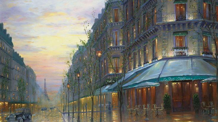 улица, живопись, ретро, здания, Эйфелева башня, кафе де Пари, Париж, вечер, Франция