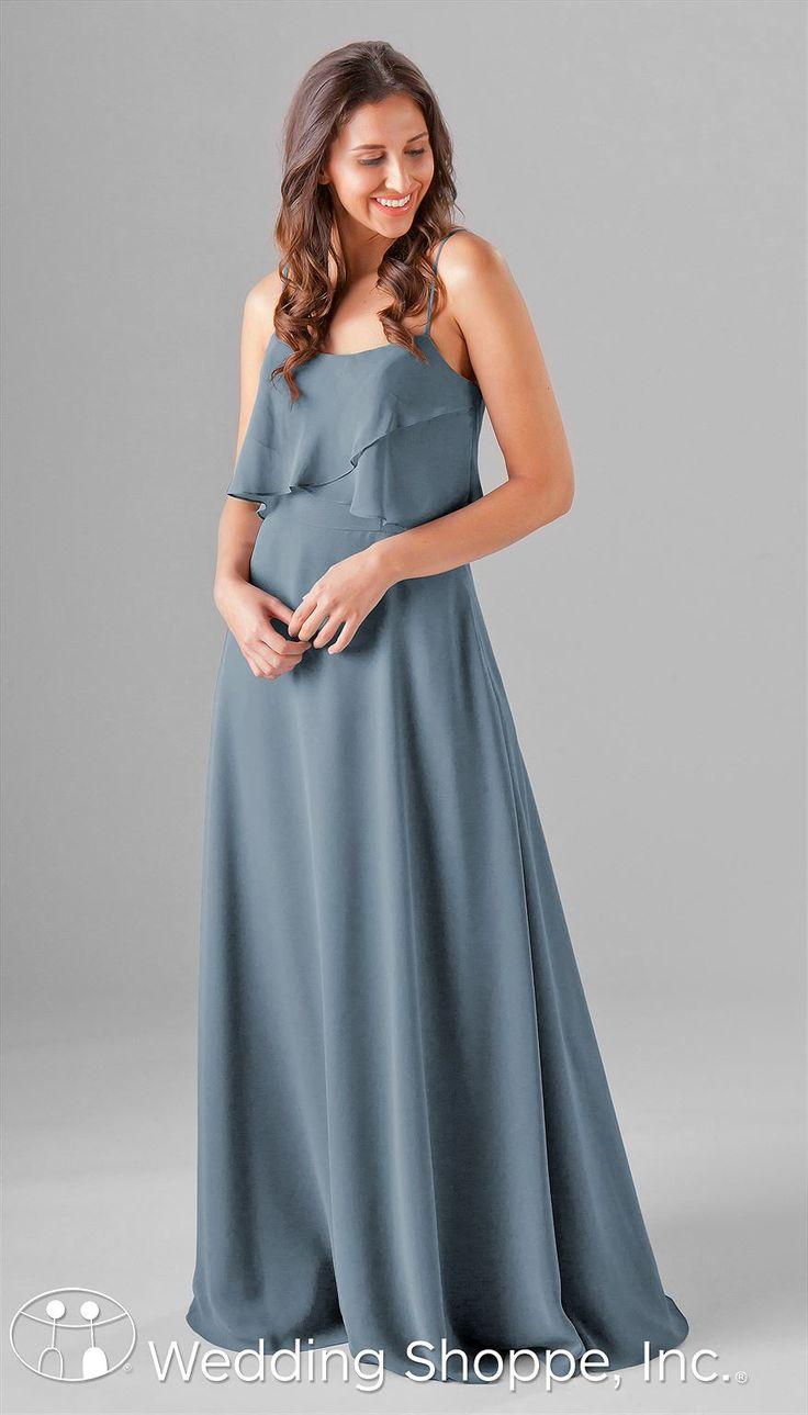Kennedy Blue Isabella | Chiffon Bridesmaid Dress   Long chiffon bridesmaid dress | spaghetti strap dress | boho style | boho dress | bridesmaid style | boho wedding | slate blue bridesmaid dress