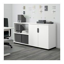IKEA - GALANT, Storage combination, white, , 10-year Limited Warranty. Read about the terms in the Limited Warranty brochure.Integrated damper makes doors close silently and gently.Space behind the shelves makes it easy to collect and lead cords and cables to the cord outlet in the back.Suitable for use in the middle of a room since it is finished on the back.The included hook can be used to hang bags and other items on, even if you have an add-on unit on top.The storage unit stands evenly…