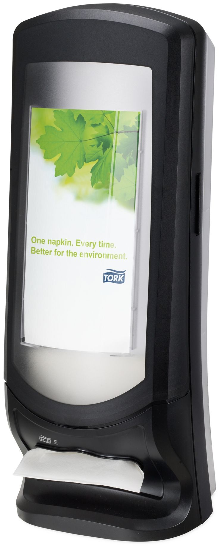 Tork Xpressnap® Stand Napkin Dispenser: We guarantee Tork Xpressnap® napkin dispensing system will reduce napkin usage by at least 25% compared with traditional dispensers, helping you to reduce napkin consumption and waste. (System: N4 - Interfolded napkin system; Material: Plastic; Height: 622mm, Width: 235 mm, Depth: 235 mm; Color: Black) Get more information about this product at: http://bimobject.com/en/sca-eu/product/272211/sca-tork-eu