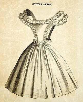 1862 Wood Engraving Victorian Apron Child Girl Antique Clothing Fashion Pinafore civil war era fashion