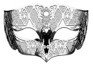 Silver Male Masquerade Mask Laser Cut Metal Mask