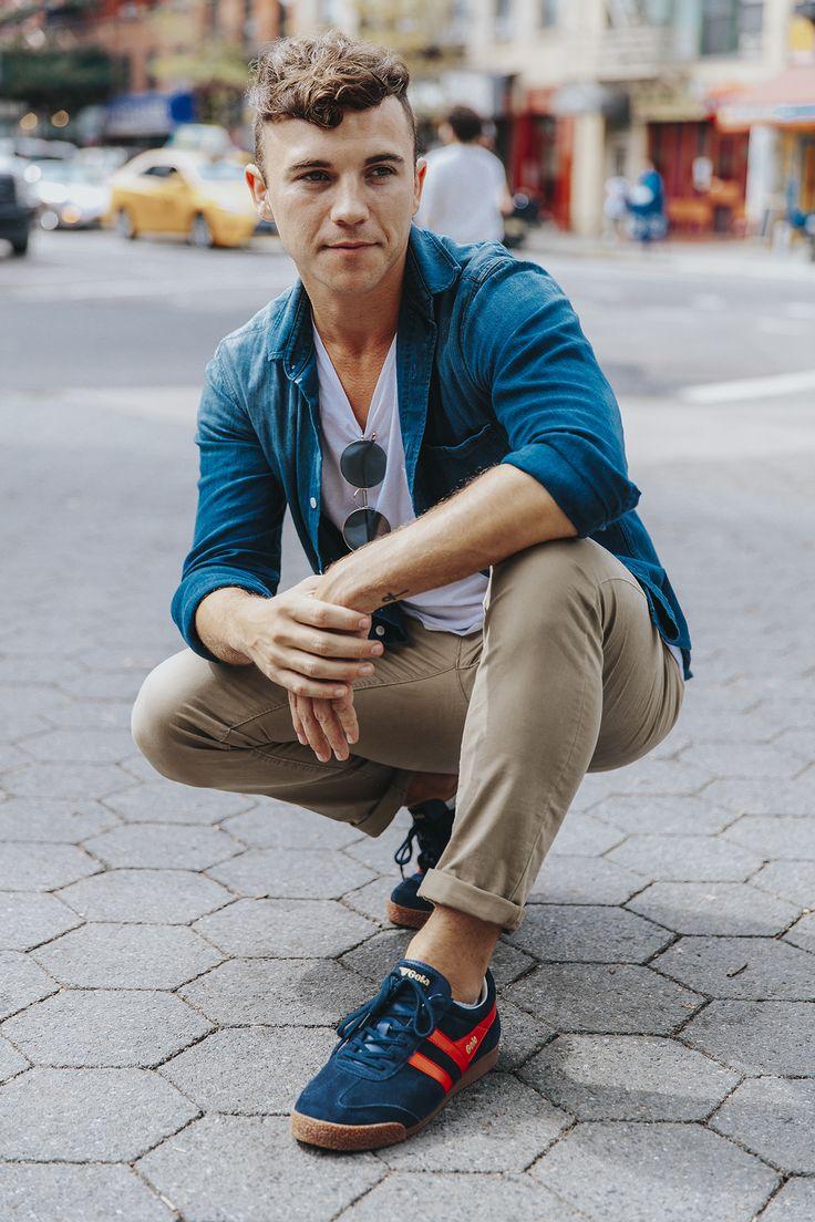 Men's Fashion and Lifestyle Blogger Justin Livingston wears Gola Classic Men's Harrier C83 Sneaker in New York City