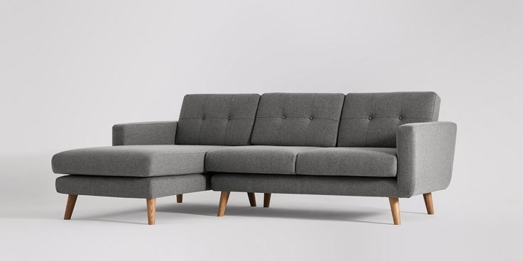 Swoon Editions Corner sofa, Mid Century style in granite grey - £999