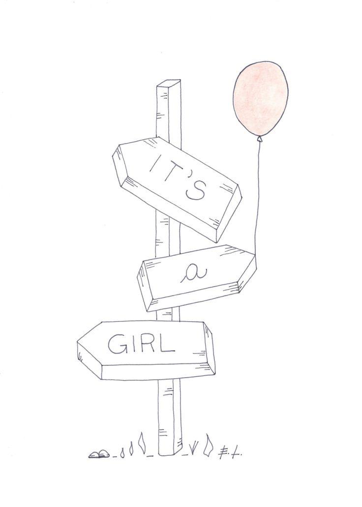 It's a girl, poster stampabile, download istantaneo, biglietto stampabile, baby shower, annuncio nascita di ELdesingArt su Etsy