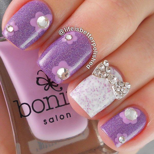 165 best cute bows nail art images on pinterest bow nail art 45 wonderful bow nail art designs prinsesfo Image collections