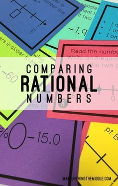 Comparing Rational Numbers - 28 engaging task cards for math centers, tutoring, or a whole class activity!  Excellent for developing number sense.    maneuveringthemiddle.com