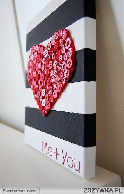 Ozdoba do sypialni, prezent, obraz, guziki, serce, walentynki, dla chłopaka, romantyczne, DIY