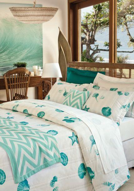 Conchas são uma ótima decoração para casas na praia. Na foto, o décor é da coleção de verão do Mundo do Enxoval.