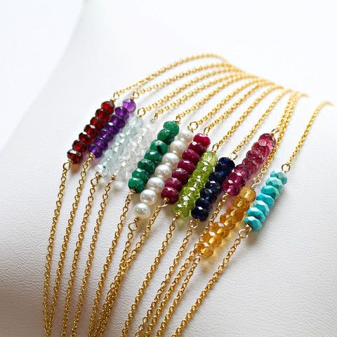 Gold Birthstone Gem Bracelet