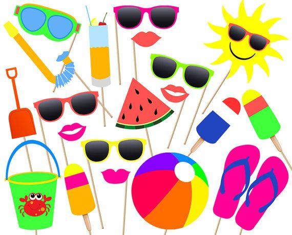 Verano piscina partido Photo booth Props imprimible - descarga instantánea! imprimir luau tropical de vacaciones sistema de archivo digital