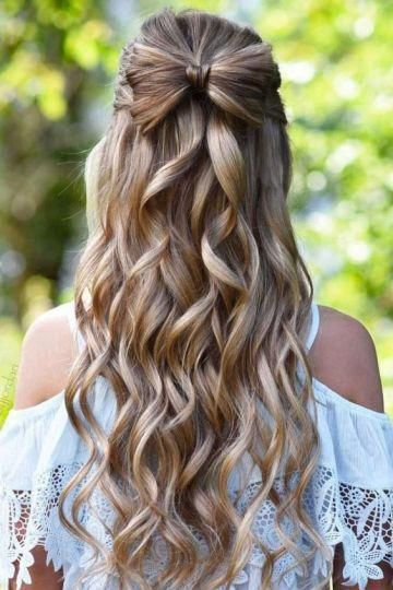half up hair bows make such cute hairstyles for long hair! #haircarestyling, #longhair