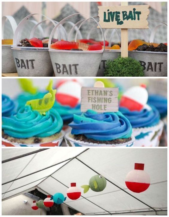 Gone Fishing Birthday Party via Kara's Party Ideas |Are you on the look out for some awesome party ideas for the Fisherman in your life?! If so you have come to the right place because this Gone Fishing Birthday Party submitted by Sandra Nee of Sandra Nee Design out of  San Gabriel, CA has got all the ideas needed- hook, line and sinker!