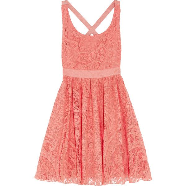 Alice + Olivia Odette lace dress ($240) ❤ liked on Polyvore featuring dresses, vestidos, coral, strappy dress, lace dress, strap dress, lacy red dress and red dress