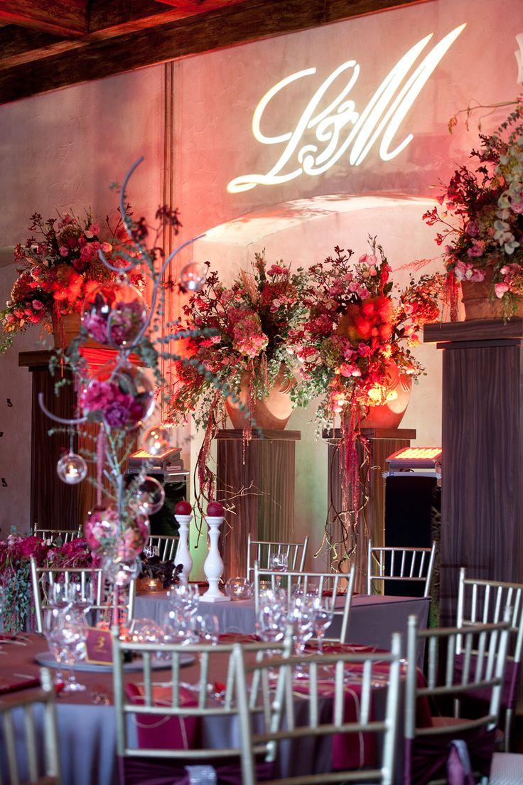 Abundant marsala wedding reception in XVth castle in Uniejow, made by artsize.pl
