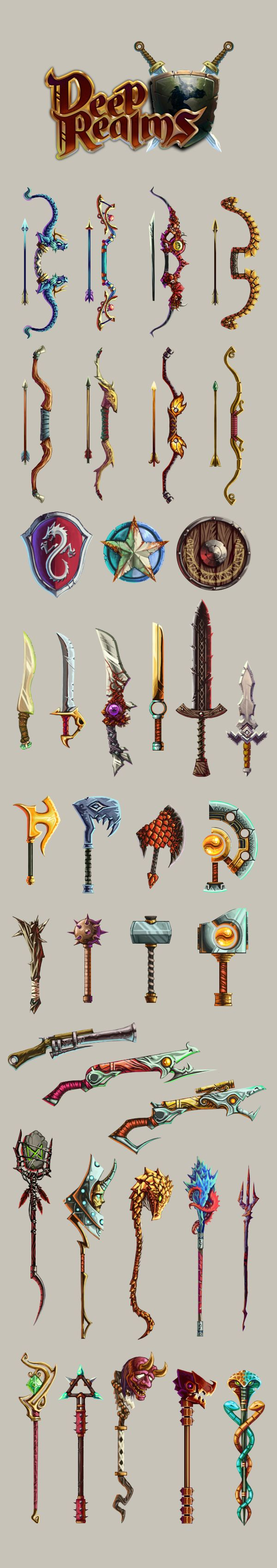 Weapon designs for Deep Realms social game.
