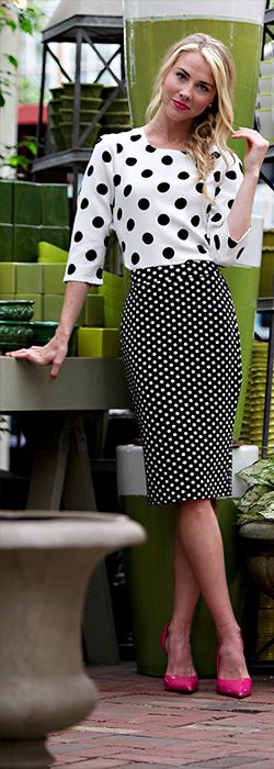 Polka Dot Skirt [MSS5292] -  women fashion outfit clothing style apparel @roressclothes closet ideas