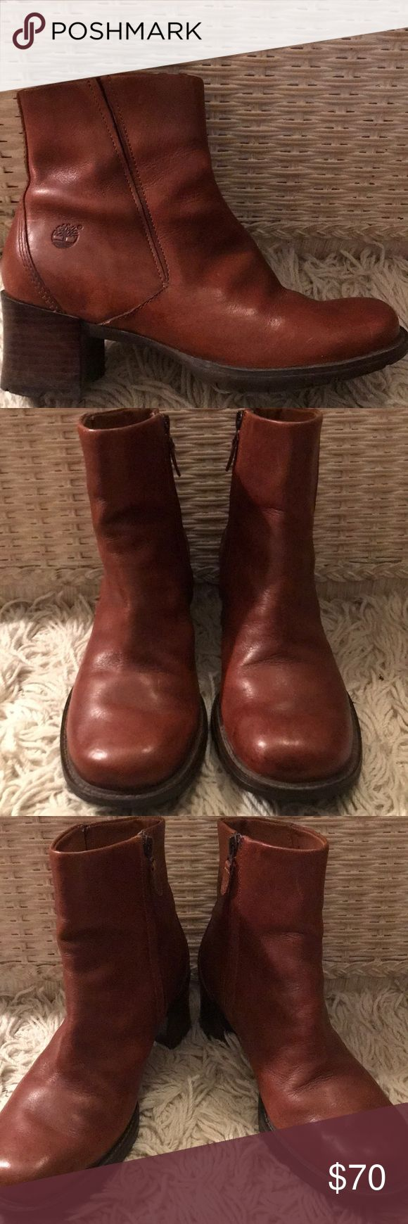 VINTAGE TIMBERLAND LEATHER BOOTS!! Very sharp looking vintage chestnut brown leather Timberland ankle boots featuring a wooden heel, inside zipper, cushioned sole and in great condition with very little wear on the bottom. Timberland Shoes Ankle Boots & Booties